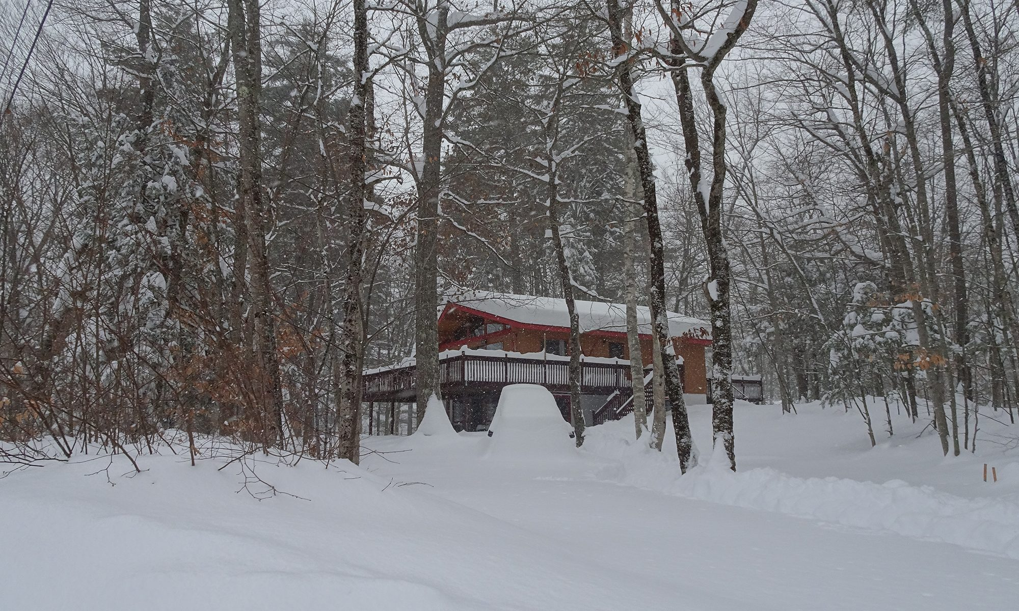 Lake House in snow